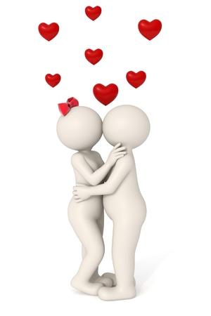 snuggle: 3d couple loving each other - kissing - hearts flying - Isolated