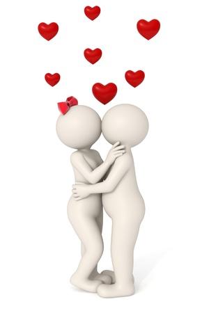 innamorati che si baciano: Paio 3d amarsi - baciare - cuori volanti - isolato