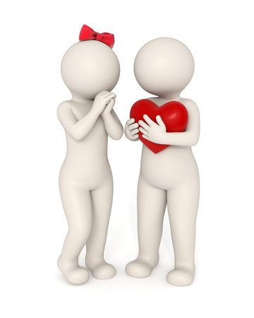 symbols metaphors: 3d guy gives big heart to his girlfriend - Valentines day concept - Isolated Stock Photo