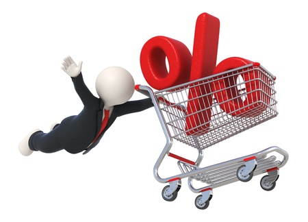 shopping carriage: 3d business man flying with shopping cart and percent sign - Discount concept - Isolated