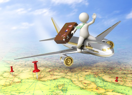 Vacation - 3d guy flying on a plane, carrying his suitcase - Tourism concept photo