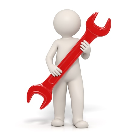 3d man holding a red spanner representing customer service - Isolated render Stock Photo - 10824413