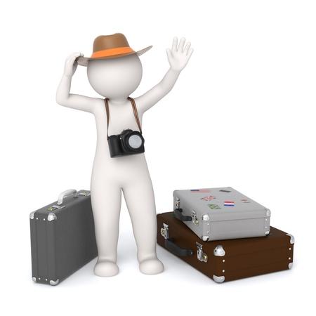 viajero: 3D Turismo blanco procesado con una c�mara digital esperando cerca de sus equipajes y agitando - aislado Foto de archivo