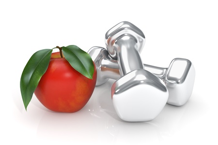 dumbell: Healthy lifestyle concept with apple and dumbell - Isolated