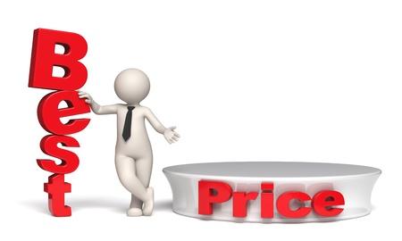 3d businessman offering best price near a red empty podium - Isolated Standard-Bild