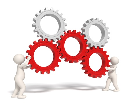 three wheel: 3d people working with gears representing teamwork and success - Isolated Stock Photo