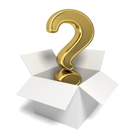 3d rendered gold question mark in an open box - Isolated icon Stock Photo - 10824424