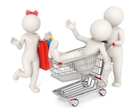 mujer en el supermercado: 3D gente feliz procesada con carro y bolsa aisladas sobre fondo blanco - concepto de compra