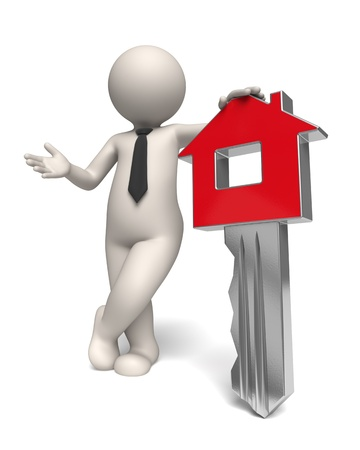 3d rendered white business man presenting a red home key - Isolated Stock Photo