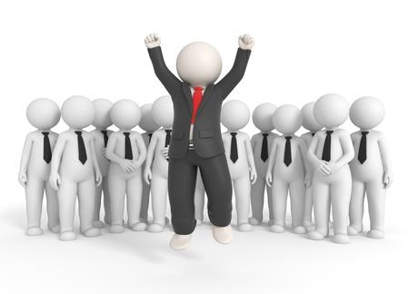 lideres: 3D procesado jefe exitoso salto alto en frente de su equipo - aislado Foto de archivo