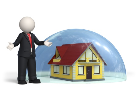 3d business man standing near house covered with a glass hemisphere - Insurance, protection concept - Isolated