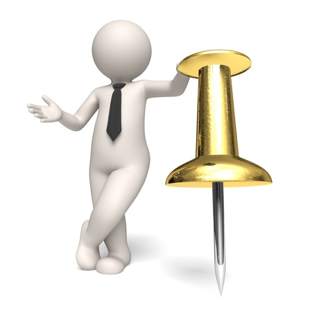 3d rendered business man standing near a gold push pin - Shedule concept - Icon