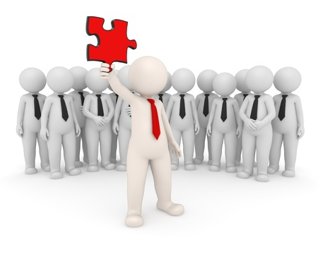 3d team leader showing a red puzzle piece in front of his people - Isolated - Solutions concept