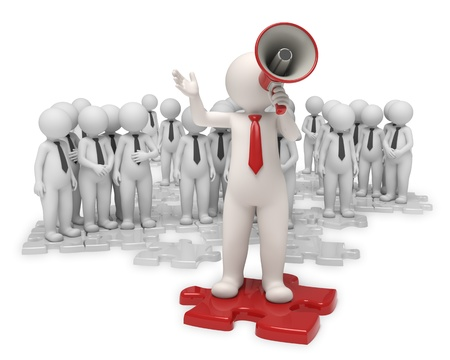 team leader: 3d team standing on gray puzzle pieces while their leader making an announcement with a red megaphone - Isolated