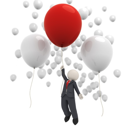 3d rendered business man flying with a red balloon among many white ones - isolated Фото со стока