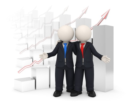 3d rendered business people in black uniform embracing each other in front of a financial graph background - Financial success of business partners concept photo