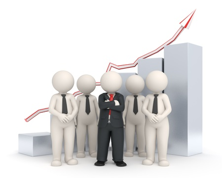 3d rendered business people with a leader standing in front of a rising gray financial graph - Semi isolated with soft shadows
