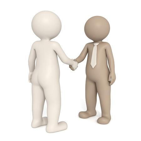 Two 3d gentlemen with different nationalities shaking hands - Isolated