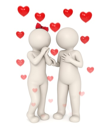 3d lovers talking something about love - Rising hearts with motion blur - Isolated