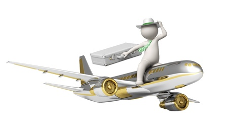 Tourism agency symbol - 3d rendered white guy flying on a gold airplane - Isolated