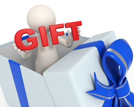 3d man standing in a blue gift box holding a red Gift text in his hands photo
