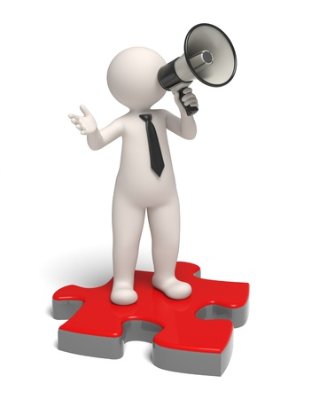 3d guy speaking through a megaphone while standing on a red puzzle piece - Isolated photo