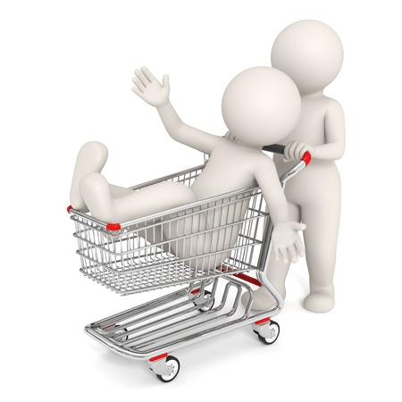 man pushing: 3d rendered people with shopping cart isolated on white background Stock Photo
