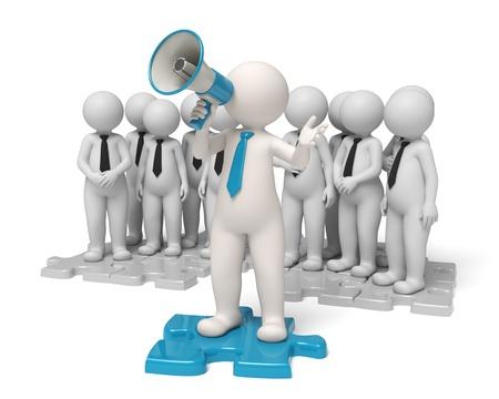 lideres: El líder del equipo de pie en un rompecabezas azul de hacer un anuncio a través de un megáfono en el nombre de su pueblo - el concepto de comunicación - Aislados