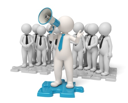 leaders: Team leader standing on a blue puzzle making an announcement through a megaphone in the name of his people - Communication concept - Isolated