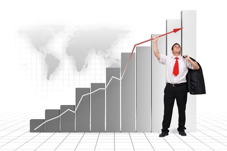 high up: Business man holding graph arrow high up - 3d rendered image and photo combination