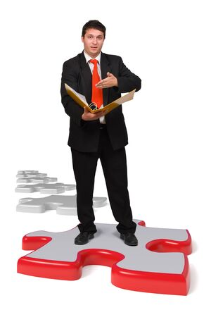 Business man with solutions in his hand showing his portfolio Stock Photo - 10824430