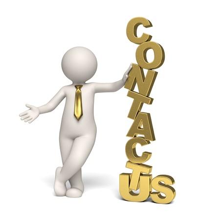 iconos contacto: 3d prestados oro s�mbolo en contacto con nosotros con un hombre de negocios 3d - icono de aislados