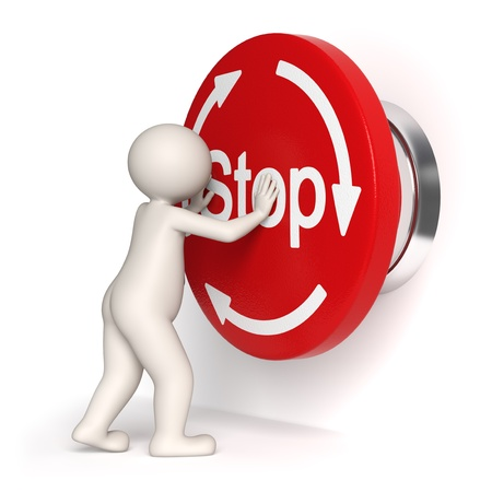 stop button: 3d guy pressing a big emergency button - Isolated symbol Stock Photo