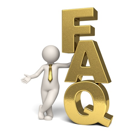 faq: Gold Frequently Asked Questions icon with a 3d businessman standing near - Isolated