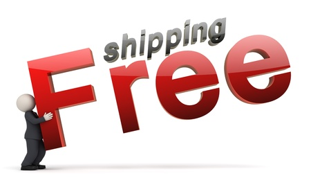 3d rendered business man in a black suit carrying a free shipping text - Icon Stock Photo - 10824435
