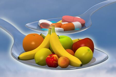 healty: Healty nutrition instead of a spoon of pills - concept - 3d render