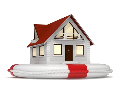 danger to life: 3d rendered nice detailed house sitting on a white lifebuoy representing house insurance - Isolated Stock Photo