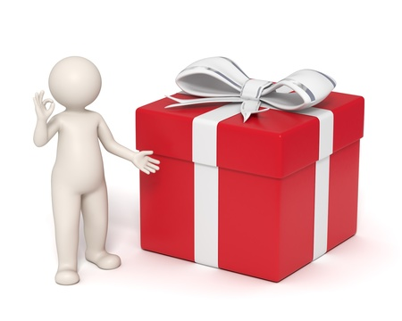 3d guy presents a perfect gift box showing ok sign - Isolated Stock Photo - 10824512