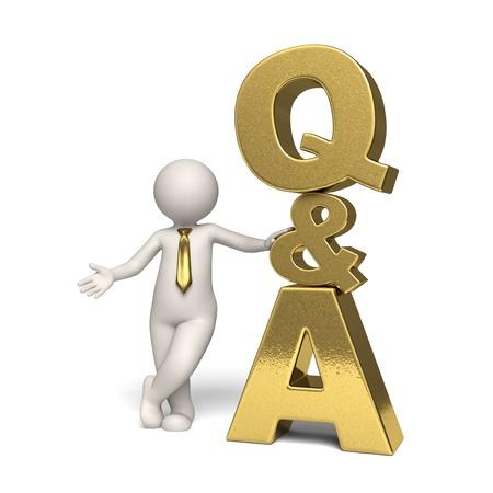 answers questions: Domande d'oro e icona risponde con un uomo d'affari 3d in piedi vicino - isolato Archivio Fotografico