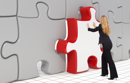 red puzzle piece: Business woman puting the last puzzle piece in - 3d Stock Photo