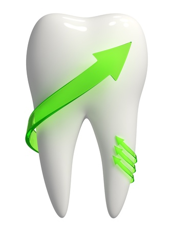 oral care: 3d rendered photo-realistic white tooth with green semi-transparent arrows pointing upward - Isolated icon on white background