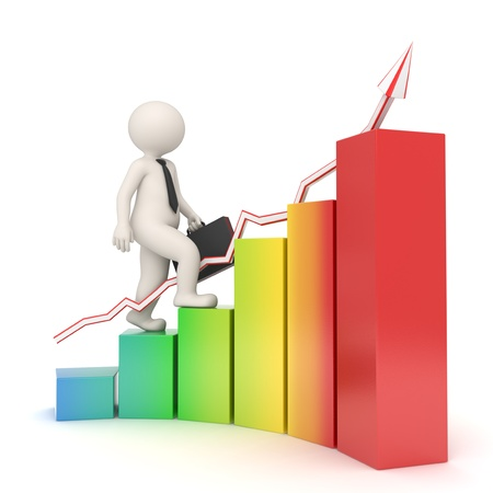 3d white business man with briefcase walking up the rainbow colored financial graph with arrow - Semi isolated with soft shadows - Success concept