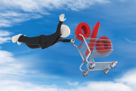 high up: 3d business man flying high up in the sky with shopping cart and percent sign - Discount concept