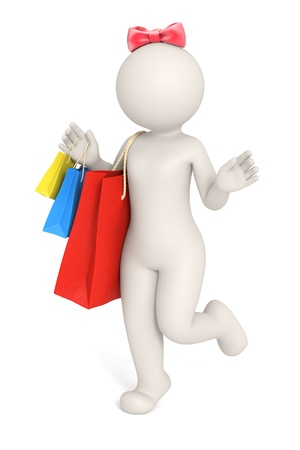 3d rendered happy girl with shopping bags in her hands and a red bow on her head - Isolated photo
