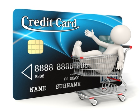 3d guy sitting in a realistic shopping cart in front of a blue credit card - Isolated - Shopping with credit card concept