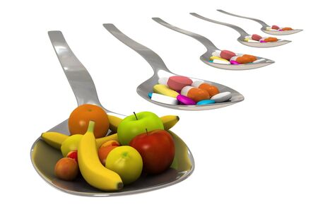 energy balance: Healty nutrition instead of a spoon of pills - concept - 3d render - Isolated Stock Photo