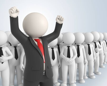 3d rendered business team and their boss with his hands up in the air - Success in business concept photo