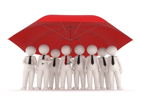 companies: 3d business team standing under a big red umrella - Protection and insurance concept - Isolated Stock Photo