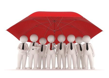 agent de s�curit�: �quipe commerciale 3d debout sous un grand umrella rouge - Concept de protection et d'assurance - Isol�e