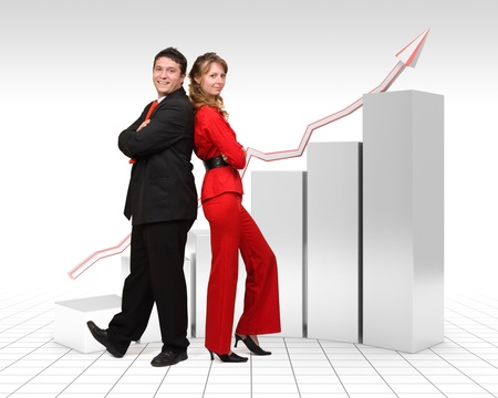 real people: Real business people standing in front of a 3d rendered gray financial graph with a red arrow